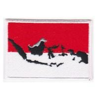 Emblem Bendera Peta Indonesia Patch Flag Map Bordir Tugas Negara Hits!
