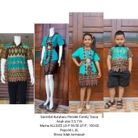 baju batik couple keluarga bahan katun terbaru warna tosca BSD149