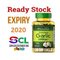 Puritan Pride Odourless Garlic 1000 mg 250 Softgel Turunkan Kolesterol