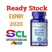 PURITAN SUPER BIOTIN 5000 mcg 60 Softgels RAMBUT KUKU