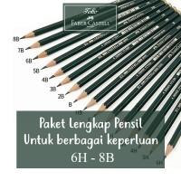Paket Pensil 6H - 8B Faber Castell Lengkap 3H F HB 2B 3B 8B 16pcs