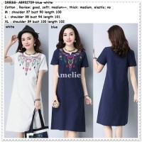 Jual Midi Mini Dress Etnik Wanita Korea Import White Blue Putih Biru Lengan Murah