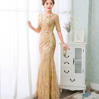 Gaun Pesta Import 1803029 Emas Gaun Malam Party Dress