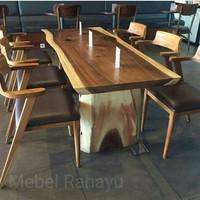 Meja Makan Kayu Trembesi Kursi 6 Furniture jati, kursi makan murah