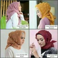 Hijab Segi Empat Rubi Linen Premium   Navy   Hitam   Dusty