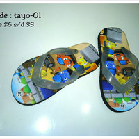 Jual sandal sendal jepit anak karakter tayo lucu unik cute code tayo-01 Murah