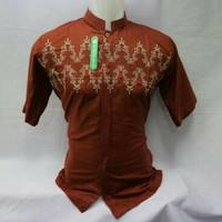 Baju koko kemko lengan pendek warna merah bata motif bordir khas Tasik