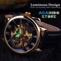 Jam tangan pria / cowo mekanik Ekslusif Forsining Original Black-Gold