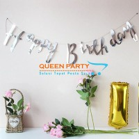 Banner HBD letter silver / Bunting Flag Happy Birthday silver/ flag