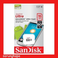 Sandisk Ultra Micro SDHC UHS-I 16Gb Class 10 - 80 Memory Card