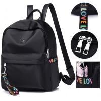 Ransel Import Hitam Parasut Fashion Kece Bag Pack Murah Wanita Tas