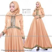 Selly Gamis Syari Baju Wanita Muslim Gaun Pesta Mewah Warna Coklat
