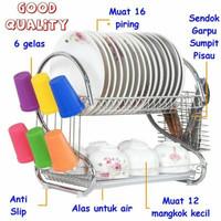 Rak piring 2 susun portable stanless/Dish Drainer