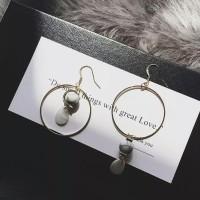 Round Tassel Earring Cincin Anting Korea Lingkaran Bulat IMPORT