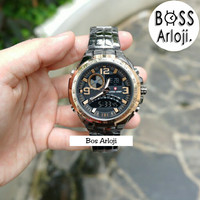 Jam Tangan Pria / Cowok Swiss Army Double Time Stainless Black Gold
