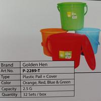 Pail/Timba/Baskom/Ember Plastik Golden Hen 2,5 galon P-2289-T