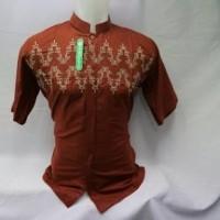 Baju Koko Orang Lengan Pendek Busana Muslim Pria Modern Bordir KWV 041