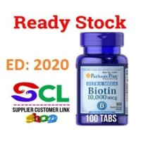 Puritan Pride Biotin Ultra Mega 10,000 mcg 100 Softgels (Go-Send)