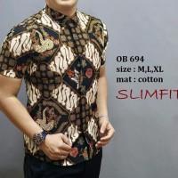 Harga big sale baju batik modern casual formal lengan pendek katun | Pembandingharga.com