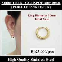 Anting Tindik Cowok Pria - Gold KPOP Ring 10mm