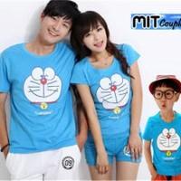 Jual Baju Couple Family Doraemon Biru 1 anak - Kaos Berpasangan Sekeluarga Murah