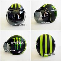 helm bogo retro klasik standart kulit bordir monster hitam hijau kaca