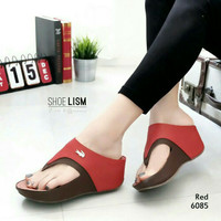 wedges crocodile merah heels sandal sendal jepit hak tinggi wanita