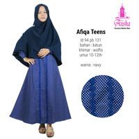 Set khimar+gamis remaja Afiqa teens ori Aiisha, bahan katun+wolfis