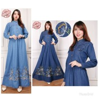 Jual Maxi Dress Jeans Khadijah Gamis Bordir Murah