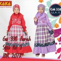 Keke Baju Anak Muslim GM 376 Merah No3 Diskon / Sale / Obarl 25%