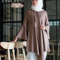 DISKON Baju kancing depan Atasan wanita Pakaian muslim wanita Lana to