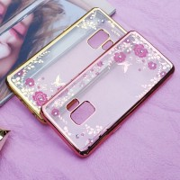 Samsung Galaxy S9/ S 9 Plus Casing Silicon Flower Bling Diamond Soft