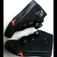 Sepatu Sekolah Anak Tk Sd Smp Nb Boot Velcro Full Hitam Ori Import 31