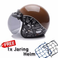 BGR helmet Helm Dewasa WTO Helmet Retro Bogo Classic Coffee Cokelat H