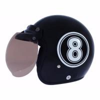 BGR helmet Helm Dewasa WTO Helmet Retro Bogo 8 Hitam