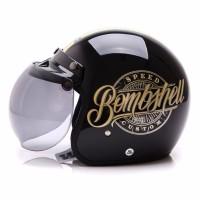BGR helmet Helm Dewasa WTO Helmet Retro Bogo Bombshell Hitam Gold