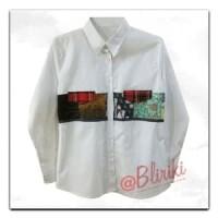Jual BW41 Kemeja Katun Kombinasi Batik Cap Patchwork Lengan Panjang Wanita Murah