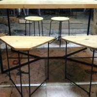 Set meja cafe bar meja makan industrial minimalis jati belanda HPL