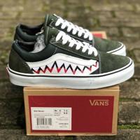 053d78f8125 Sepatu Vans Old Skool X Bape Shark Tooth Olive Green White DT BNIB