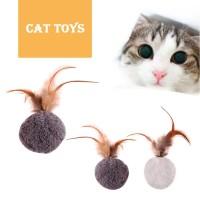 Mainan Kucing Bola Bulu Isi Catnip Kesukaan Kucing Aman Lembut Murah