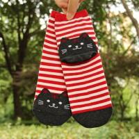 S/56 Kaos Kaki Kucing Cat Animal Striped Cotton Socks - Red