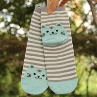 S/56 Kaos Kaki Kucing Cat Animal Striped Cotton Socks - Grey