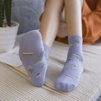 S/57 Kaos Kaki Cactus Pattern Cotton Ankle Korean Socks - Purple