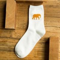 S/52 Kaos Kaki Animal Pattern Ankle Cotton Socks - White Elephant