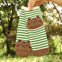 S/56 Kaos Kaki Kucing Cat Animal Striped Cotton Socks - Green