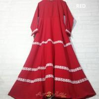 Jual Gamis wanita terbaru baju muslim syari monalisa renda tumpuk pesta Murah
