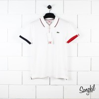 Lacoste Live PH8408 Slim Fit Piped Neck Petit Piqué Polo Shirt White