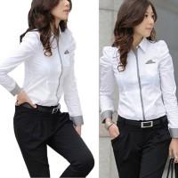 OL Kemeja Wanita Model Potongan Slim Lengan Panjang dengan Warna Putih