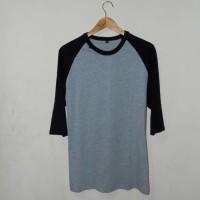Raglan Grey and Black - Kaos Distro Polos Bandung