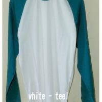 Raglan White and Teel - Kaos Distro Polos Bandung